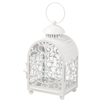 Picture of IKEA GOTTGÖRA Lantern for Candle in Metal Cup, in/outdoor White, 26 cm