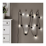 Picture of IKEA SVARTRÅ LED Lighting Chain with 12 Lights, Black, Outdoor