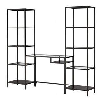 Picture of IKEA VITTSJÖ Shelving Unit with Laptop Table, Black-Brown, Glass, 202x36x175cm