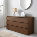 Picture of IKEA MALM Chest of 6 Drawers, Brown Stained Ash Veneer, 160×78 cm