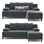 Picture of IKEA ANGSTA Sofa Bed with Chaise Longue, Dark Grey