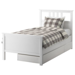 Picture of IKEA HEMNES Bed Frame with 2 Storage Boxes, White Stain, Luröy, 90×200 cm