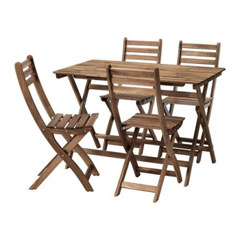 Picture of IKEA ASKHOLMEN Table+4Chairs, Outdoor, Grey-Brown Stained