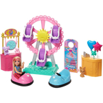 Picture of Barbie Club Chelsea  Doll and Carnival Playset, 6-inch Blonde Wearing Fashion and Accessories, with Ferris Wheel, Bumper Cars, Puppy