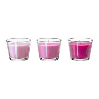 Picture of IKEA BRÄCKA Scented Candle in Glass, Mint Candy, Pink
