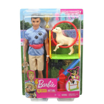 Picture of Ken Dog Trainer Playset with Doll, 2 Dog Figures, Hoop Ring, Balance Bar, Jumping Bar