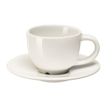 Picture of IKEA VARDAGEN Espresso Cup and Saucer, Off-White, 6 cl