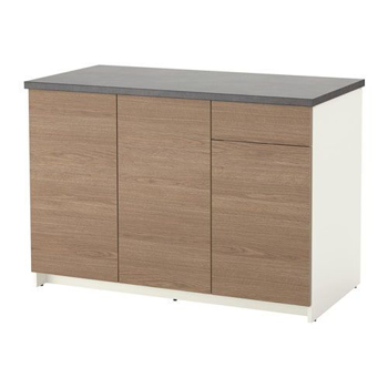 Picture of IKEA KNOXHULT Base Cabinet with Doors and Drawer, Wood Effect, Grey, 120 cm