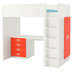 Picture of IKEA STUVA / FRITIDS Loft Bed Combo w 4 Drawers/2 doors, White, Red, 207x99x182cm