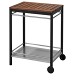 Picture of IKEA KLASEN Trolley, Outdoor, Stainless Steel Black, Brown Stained