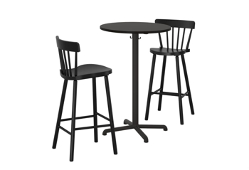 Picture of IKEA STENSELE / NORRARYD Bar Table and 2 Bar Stools, Anthracite , Black
