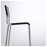 Picture of IKEA STIG Bar Stool With Backrest, Black, Silver-Colour, 74 cm