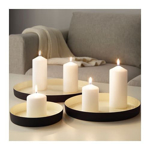 Picture of IKEA GLITTRIG Candle Dish, set of 3, Ivory, Black