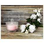 Picture of IKEA BLOMDOFT Scented Candle in Glass, Sweet Pea, Light Orange, 9cm