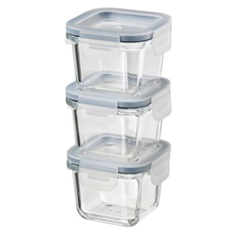 Picture of IKEA 365+ Food Container With Lid Square/Glass 180 ml 3 Pack