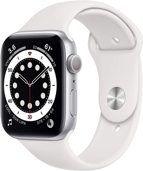 APPLE SERIES 6 44MM SMART WATCH in SILVER ALUMINUM / WHITE
