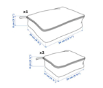 Picture of IKEA RENSARE Clothes Bag, set of 3, Check Pattern/Grey Black