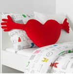 Picture of IKEA FAMNIG HJÄRTA Cushion, Red 40x101cm