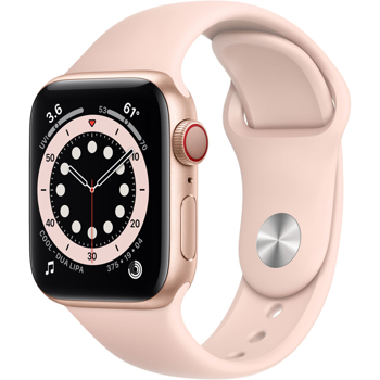 APPLE SERIES  6 CELLULAR SMART WATCH   in   GOLD ALUMINUM / PINK SAND