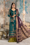 Maria B Unstitched MBROIDERED - Teal blue, Olive Green and Purple (BD-2202)