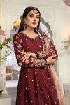 Maria B Unstitched MBROIDERED - Maroon and Salmon pink (BD-2204)