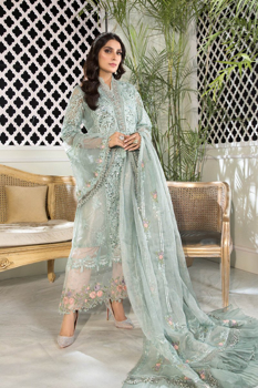 Maria B Unstitched MBROIDERED - Sky blue and Peach (BD-2206)