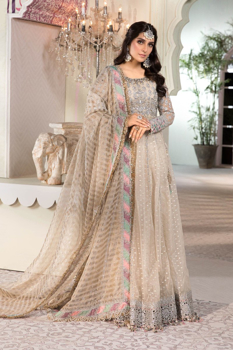Maria B Unstitched MBROIDERED - Pearl White (BD-2208)