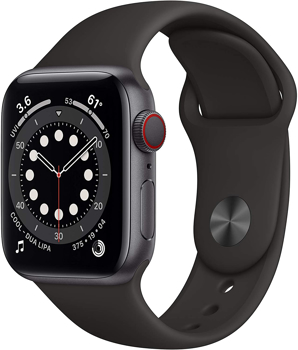 APPLE SERIES  6 CELLULAR  SMART  WATCH    in    SPACE GRAY ALUMINUM / BLACK
