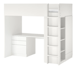 SMÅSTAD Loft Bed, White White/With Desk With 4 Drawers