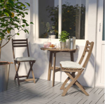 IKEA ASKHOLMEN Table for Wall Outdoor Folding 70x44 cm Light Brown Stained