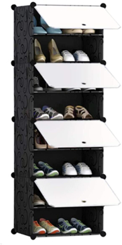Shoes Cabinet Rack Closet Storage Organizer Tower 8 Cube with White Door Dustproof for Bedroom Living Room
