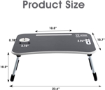 LUOWAN Portable Laptop Bed Tray Notebook Slot with Foldable Legs & Cup Slot and Handle, Bed Trays for Eating and Laptops Reading Book (Black)vcv
